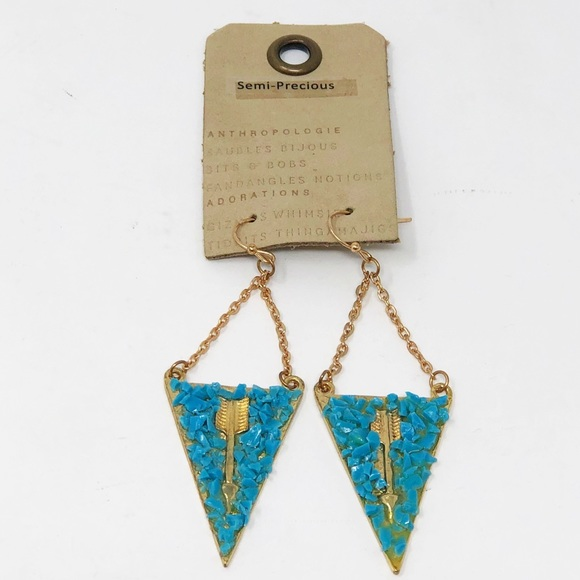 Anthropologie Triangle Faux Turquoise Earrings